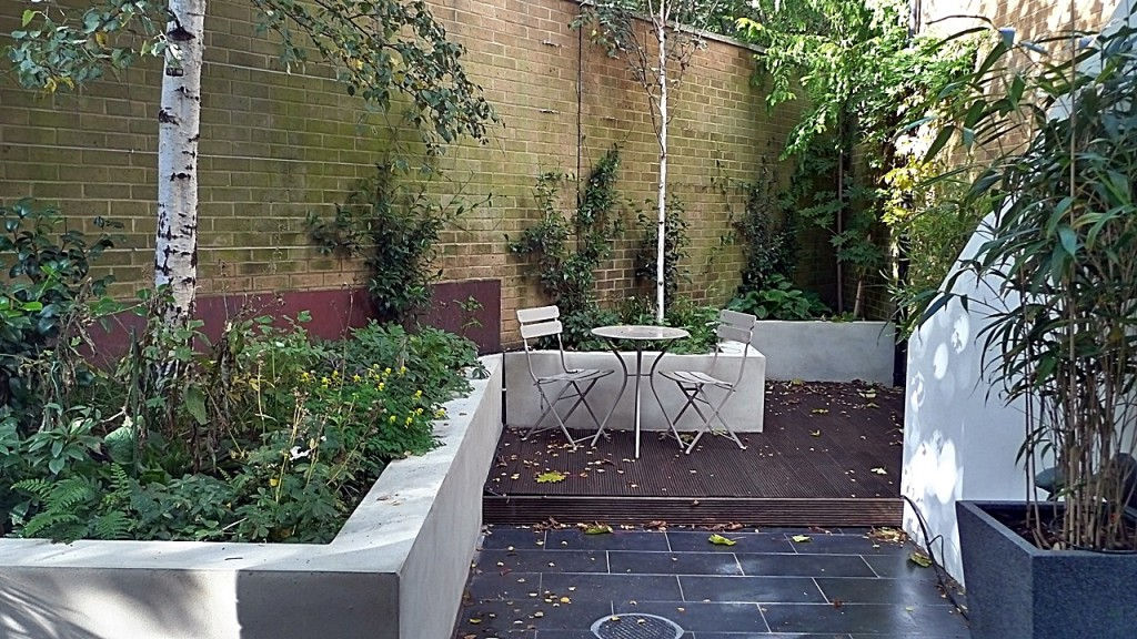 modern london garden design white walls slate tiles high quality planting balham clapham london
