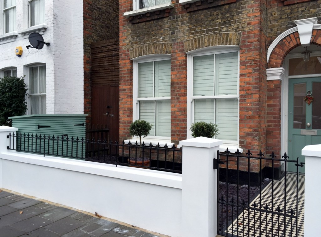 victorian front garden company walls rails black and white mosaic tile path bespoke bin store olive tree topiary plants balham clapham battersea london (1)