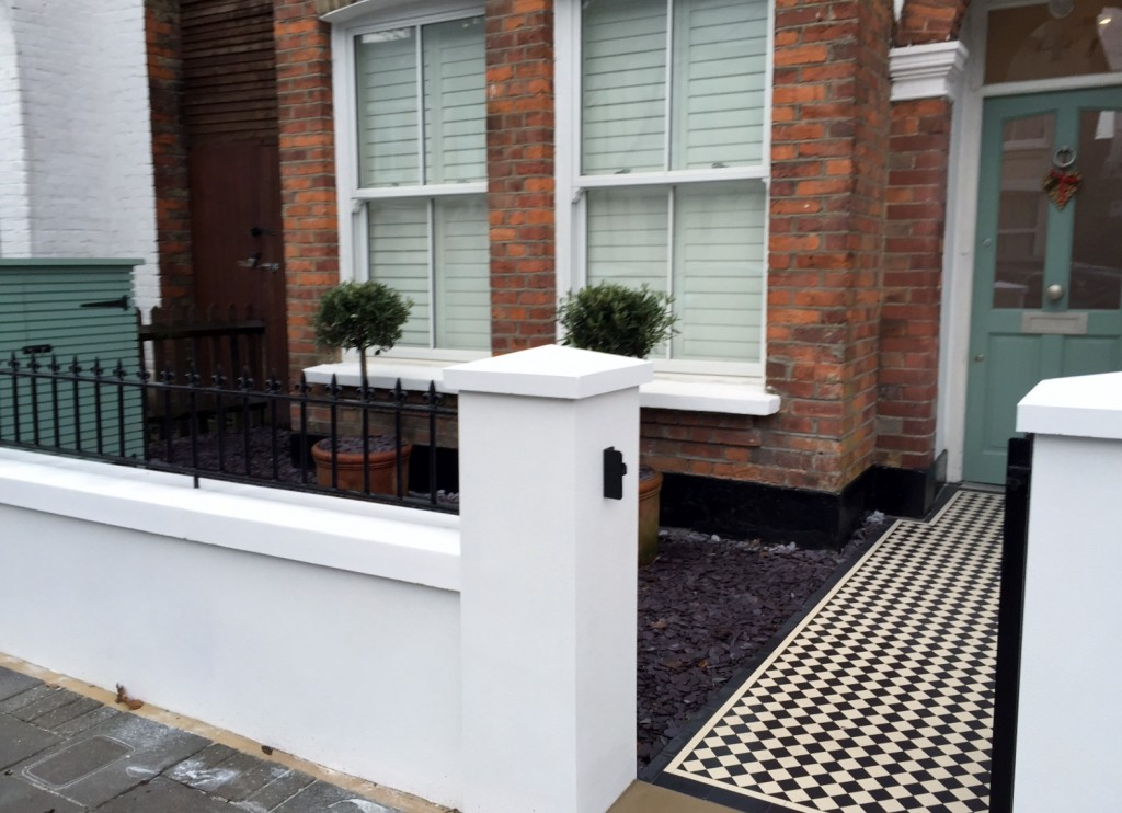 victorian front garden company walls rails black and white mosaic tile path bespoke bin store olive tree topiary plants balham clapham battersea london (10)