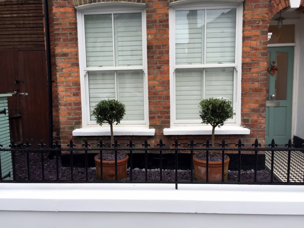 victorian front garden company walls rails black and white mosaic tile path bespoke bin store olive tree topiary plants balham clapham battersea london (11)