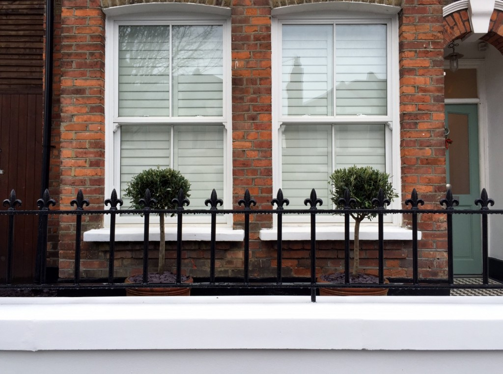 victorian front garden company walls rails black and white mosaic tile path bespoke bin store olive tree topiary plants balham clapham battersea london (12)