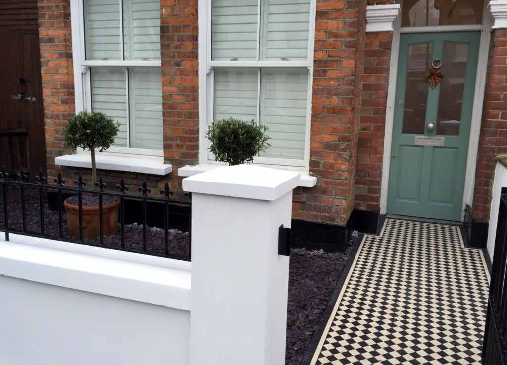 victorian front garden company walls rails black and white mosaic tile path bespoke bin store olive tree topiary plants balham clapham battersea london (13)