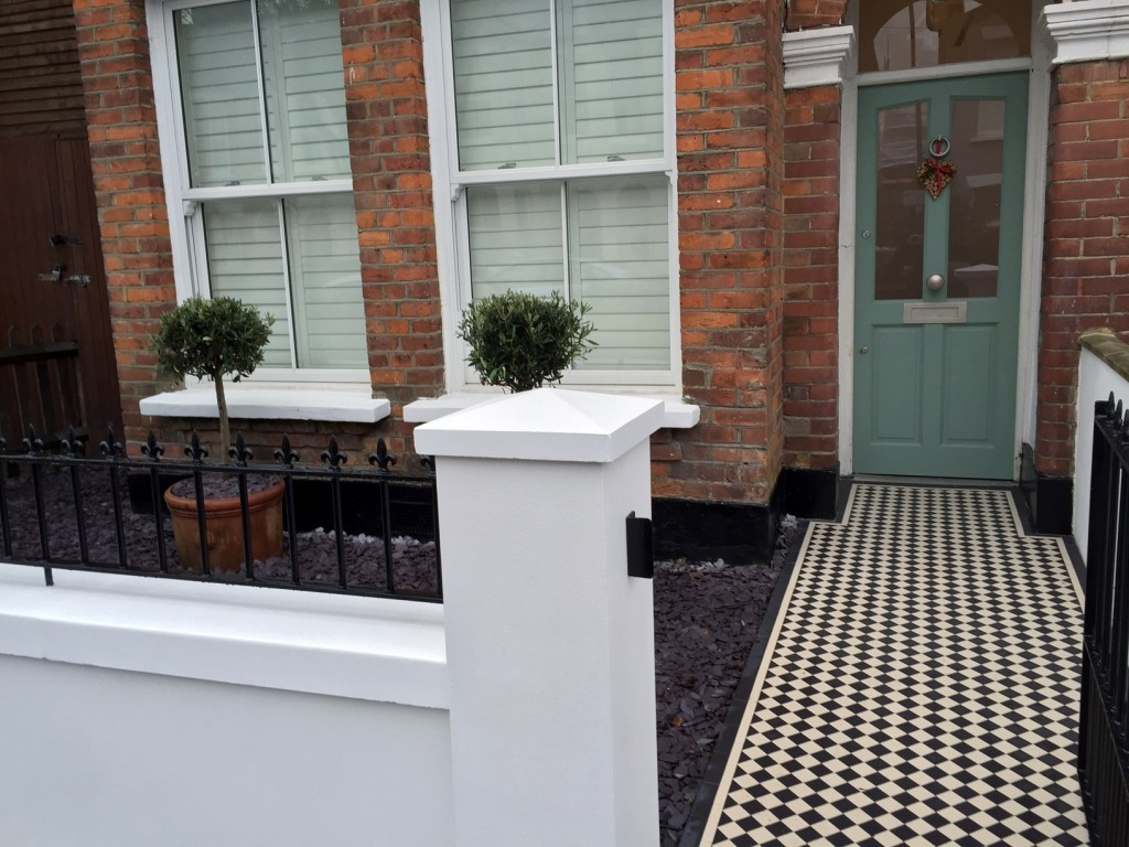 victorian front garden company walls rails black and white mosaic tile path bespoke bin store olive tree topiary plants balham clapham battersea london (14)