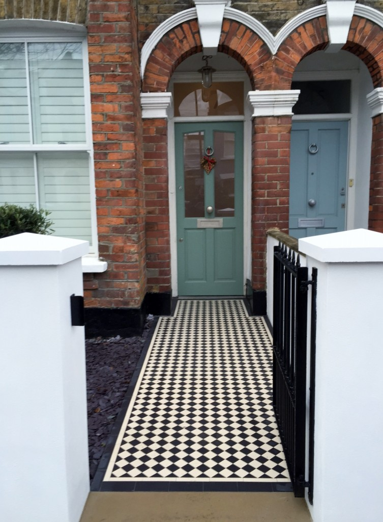 victorian front garden company walls rails black and white mosaic tile path bespoke bin store olive tree topiary plants balham clapham battersea london (15)