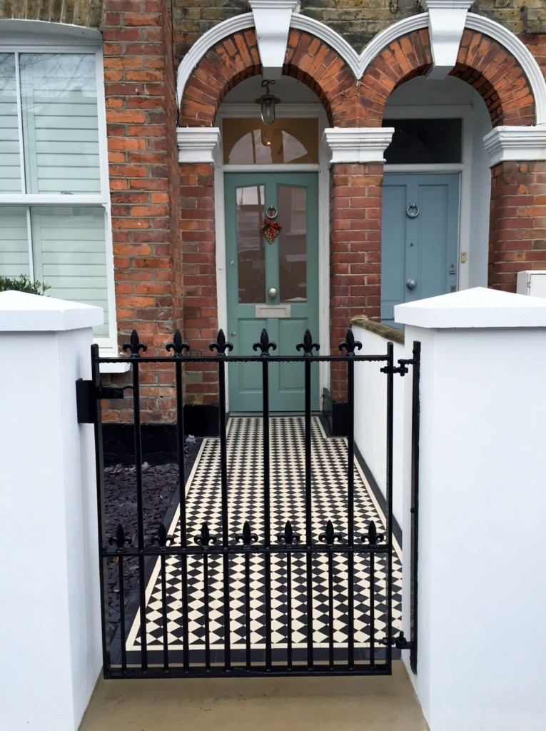victorian front garden company walls rails black and white mosaic tile path bespoke bin store olive tree topiary plants balham clapham battersea london (16)
