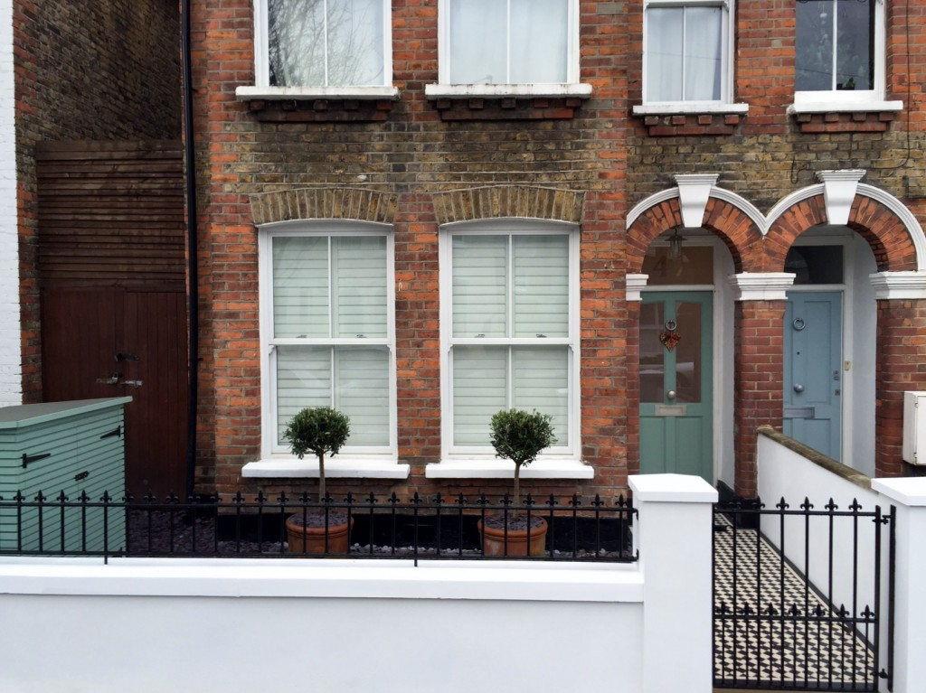victorian front garden company walls rails black and white mosaic tile path bespoke bin store olive tree topiary plants balham clapham battersea london (4)
