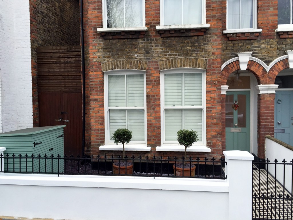 victorian front garden company walls rails black and white mosaic tile path bespoke bin store olive tree topiary plants balham clapham battersea london (5)