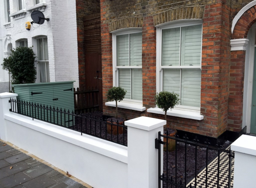 victorian front garden company walls rails black and white mosaic tile path bespoke bin store olive tree topiary plants balham clapham battersea london (6)