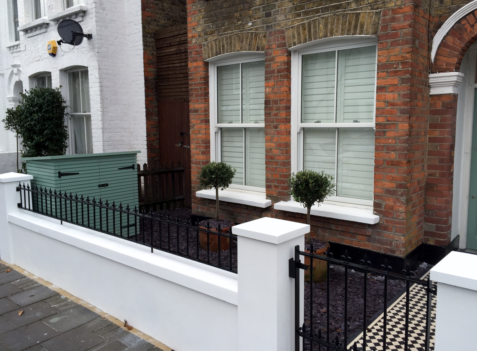unique front garden design victorian terrace wall with railings