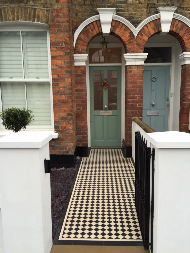 victorian front garden company walls rails black and white mosaic tile path bespoke bin store olive tree topiary plants balham clapham battersea london (7)