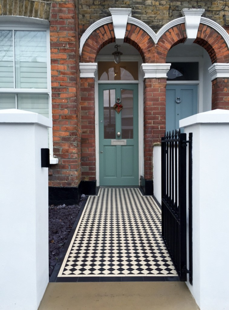 victorian front garden company walls rails black and white mosaic tile path bespoke bin store olive tree topiary plants balham clapham battersea london (8)