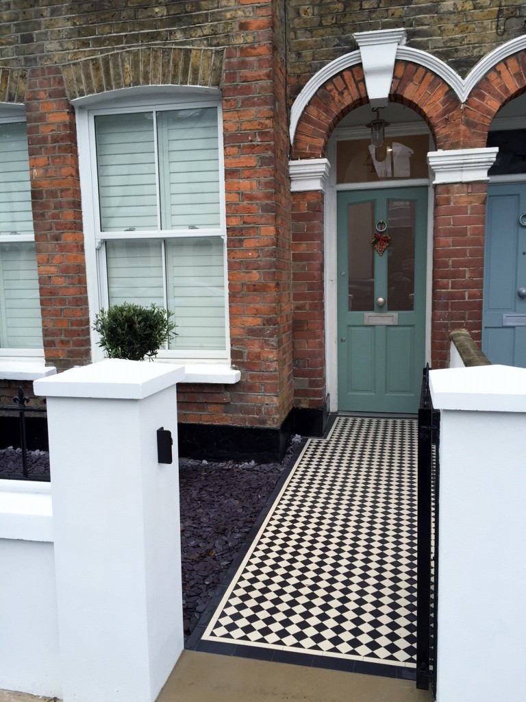 victorian front garden company walls rails black and white mosaic tile path bespoke bin store olive tree topiary plants balham clapham battersea london (9)