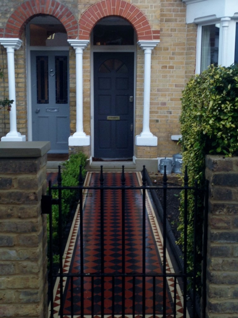 yellow stock brick wall mosaic tile path front garden company