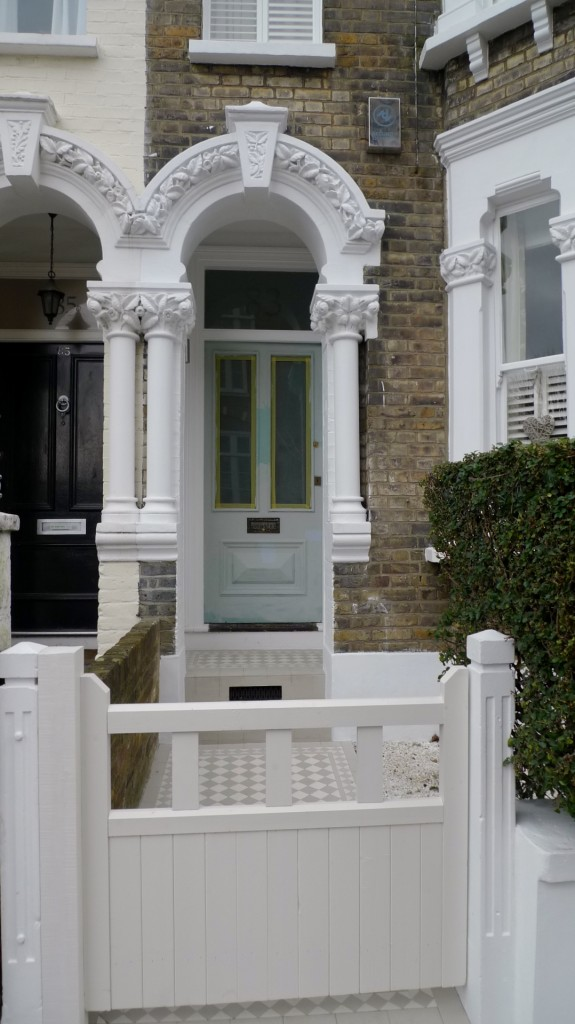 gate off white modern colours traditional theme victroian mosaic tile path battersea london