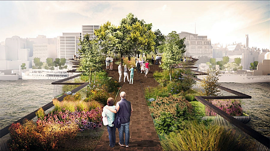 walking along new london garden bridge