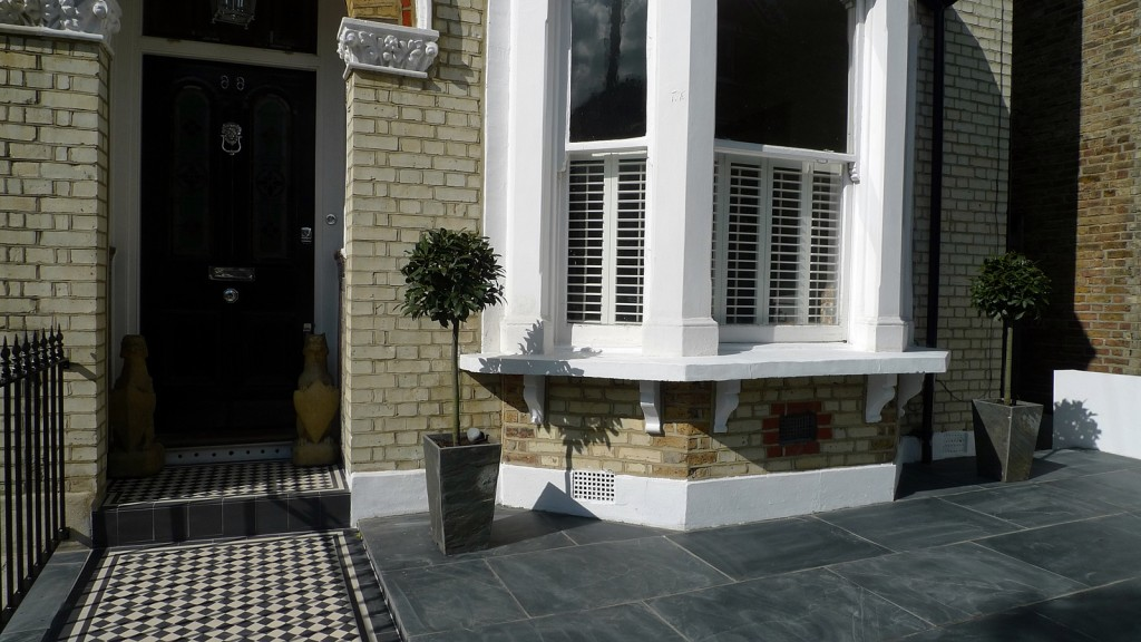 front garden design balham clapham wandsworth slate mosaic wall rail london