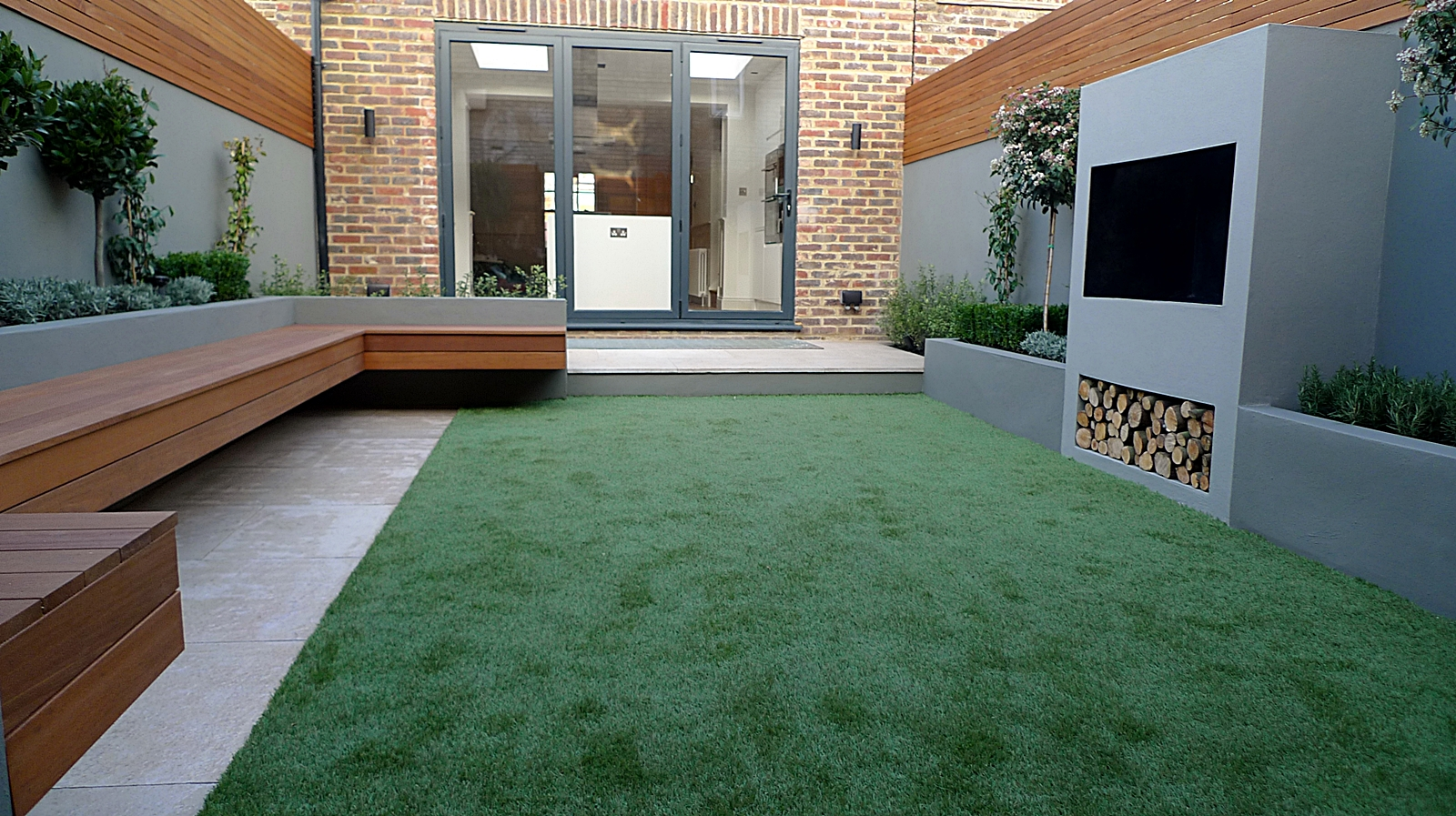 Modern contemporary garden design landscaping clapham for Garden design ideas artificial grass