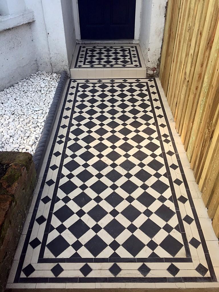 front garden victroian mosaic tile path black and white porcelain tiles battersea clapham fulham chelsea london