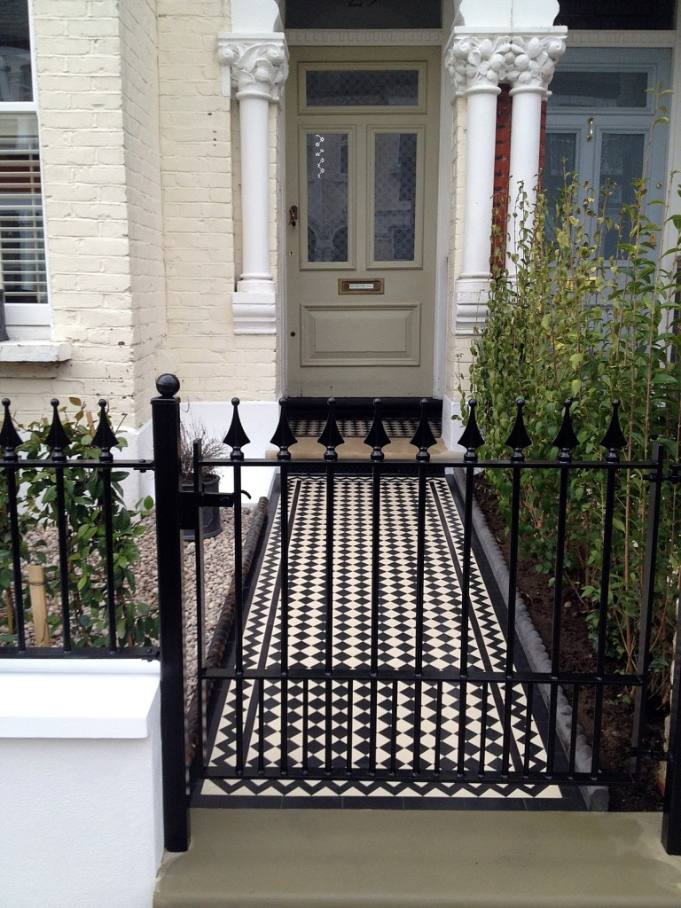 london front garden company mosaic victorian tile entrance stone meatl gate tooting balham battersea wandsworth london