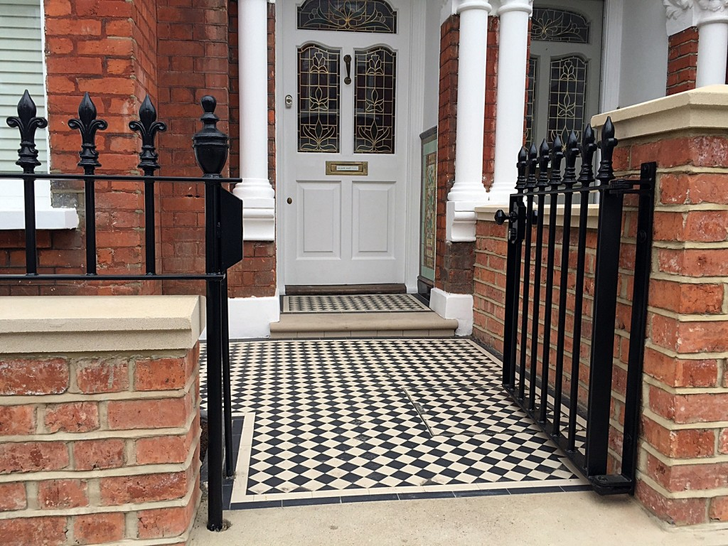 red brick wall victroian mosaic tile path york stone bullnose entrance stone wrought iron rail and gate battersea clapham london