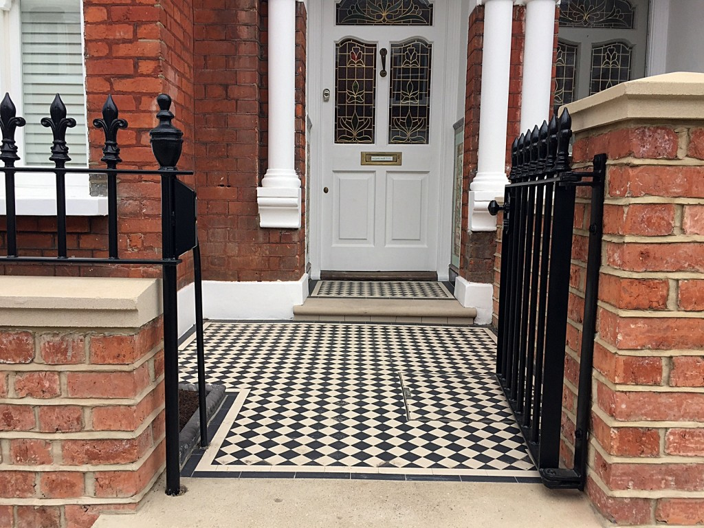 victroian mosaic tile path york stone step rail and gate