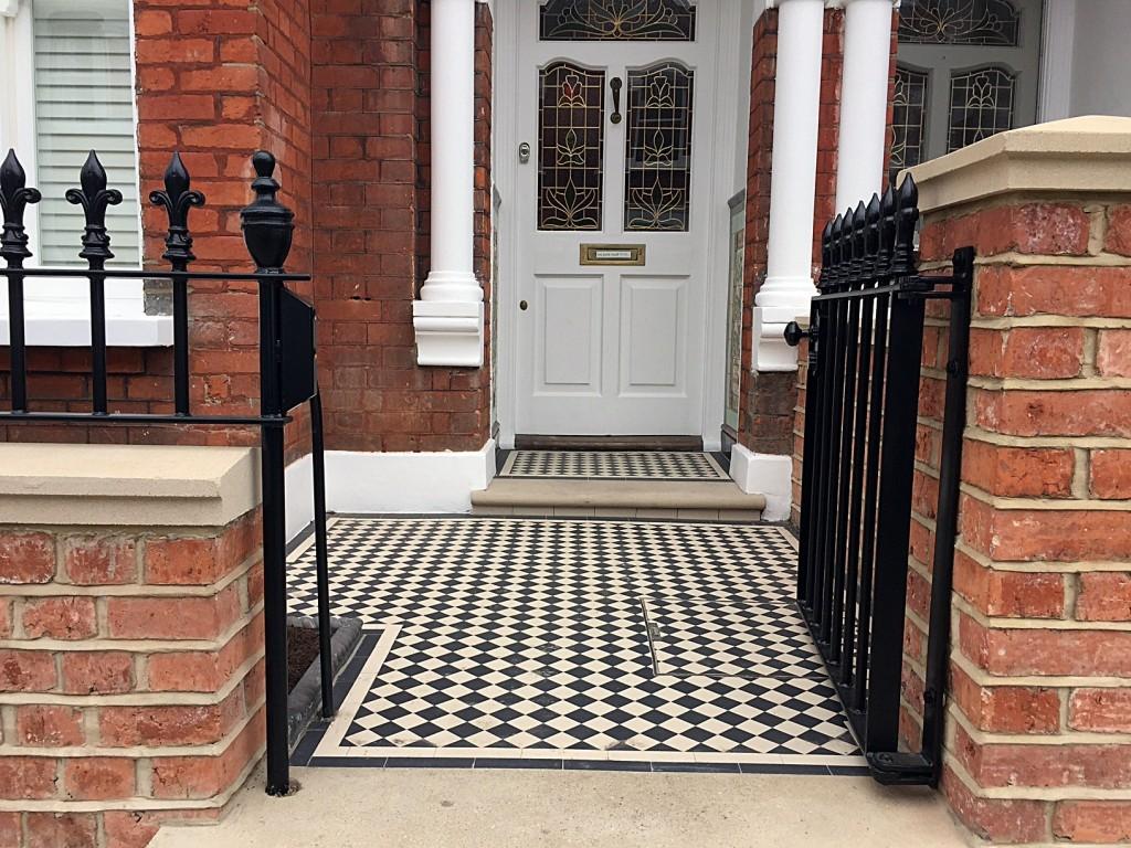 victroian mosaic tile path york stone step rail and gate