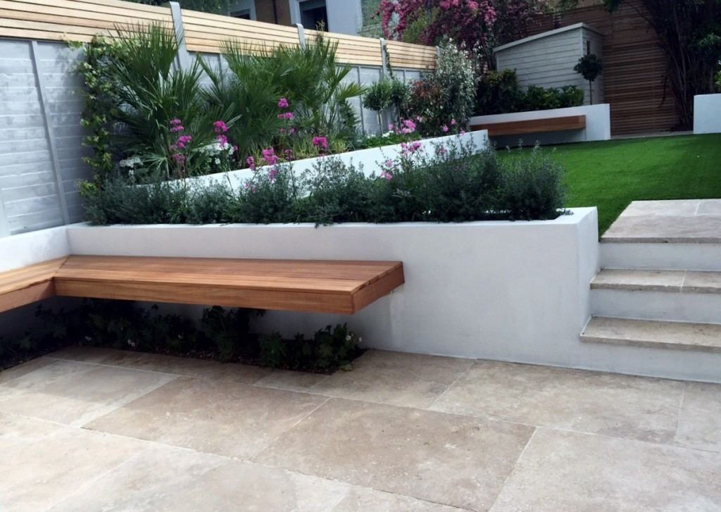 TRAVERTINE raised beds steps floating hardwood bench brixton dulwich balham battersea london