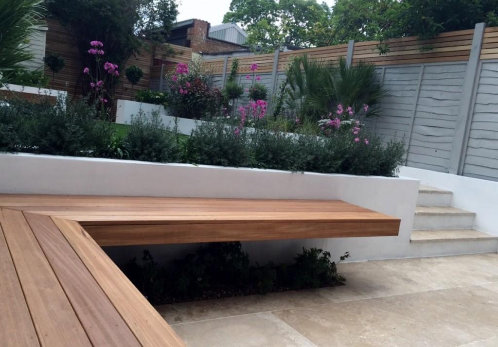 floating hardwood bench raised beds travertine paving steps brixton battersea fulham chelsea london