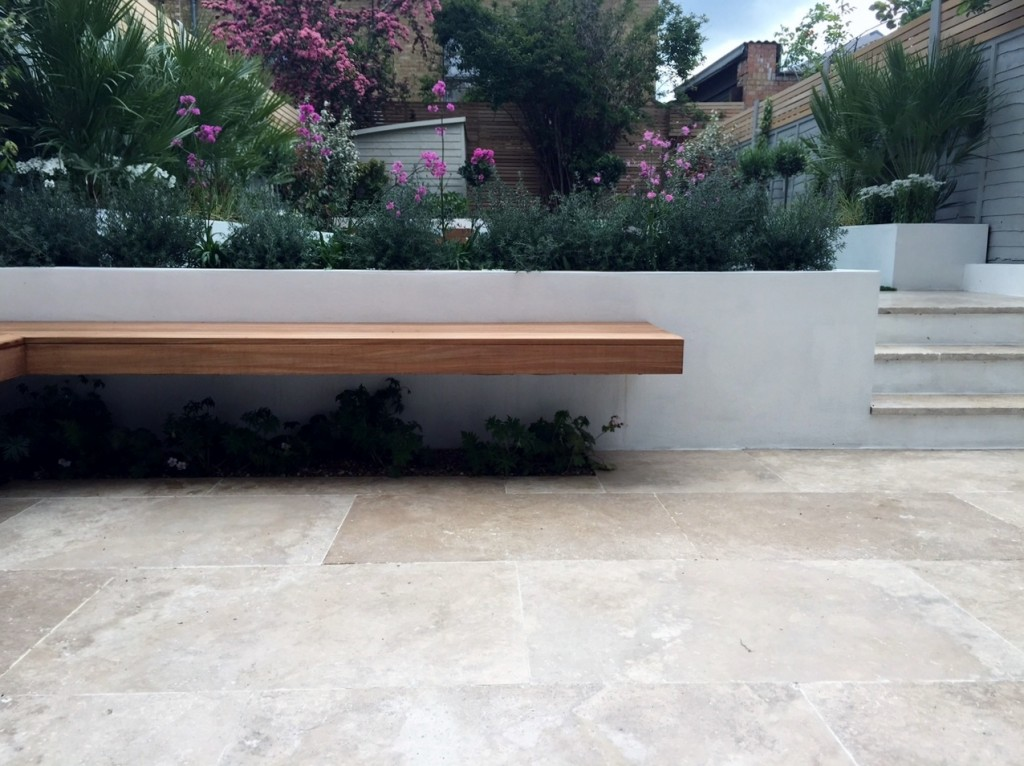 hardwood loating bench modern garden design dulwich clapham brixton london