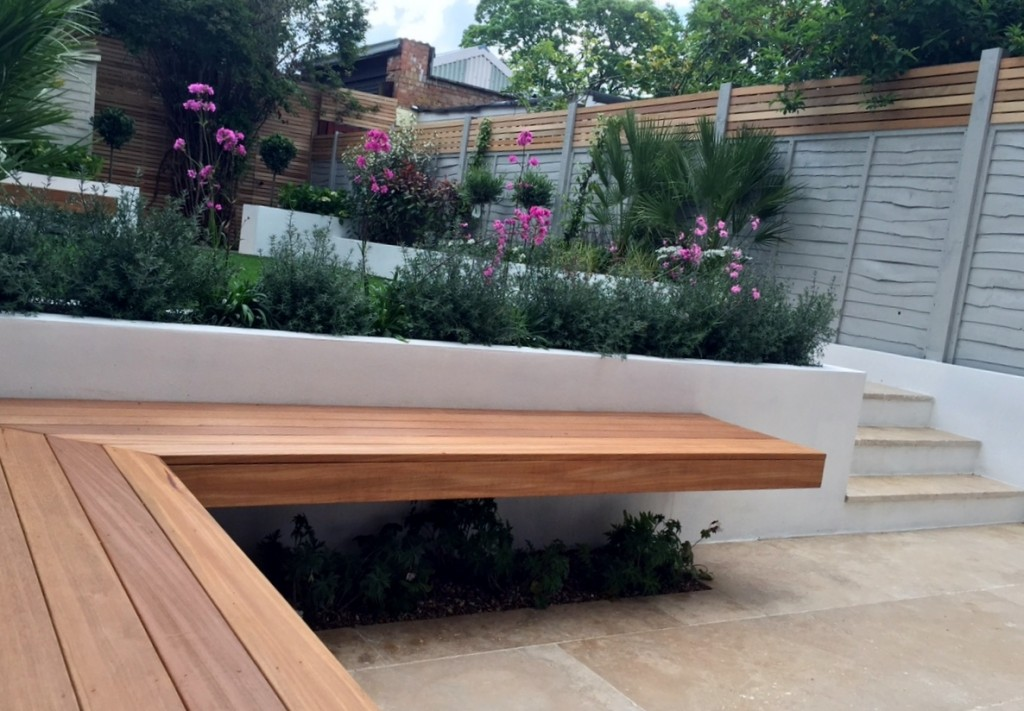 hardwood seating bench modern urban small garden designer fulham chelsea battersea london