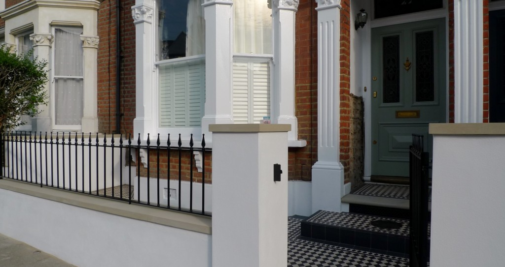 front garden wall metal rail and gate yorkstone caps london