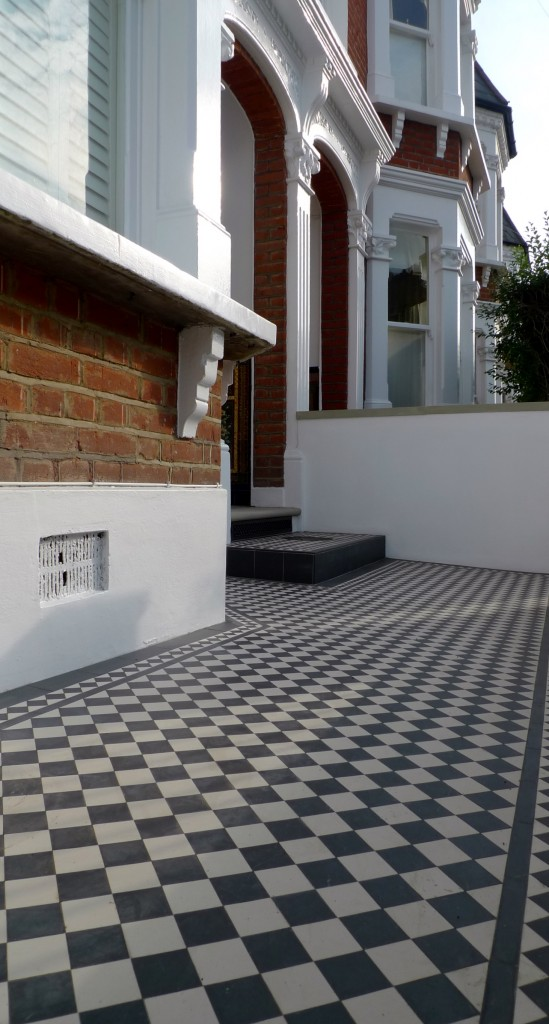 victroian black and white mosaic tile path and yorkstone step balham clapham dulwich london