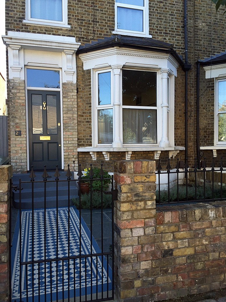 front garden dulwich clapham balham victorian mosaic tile path and slate paving yellow stock wall london