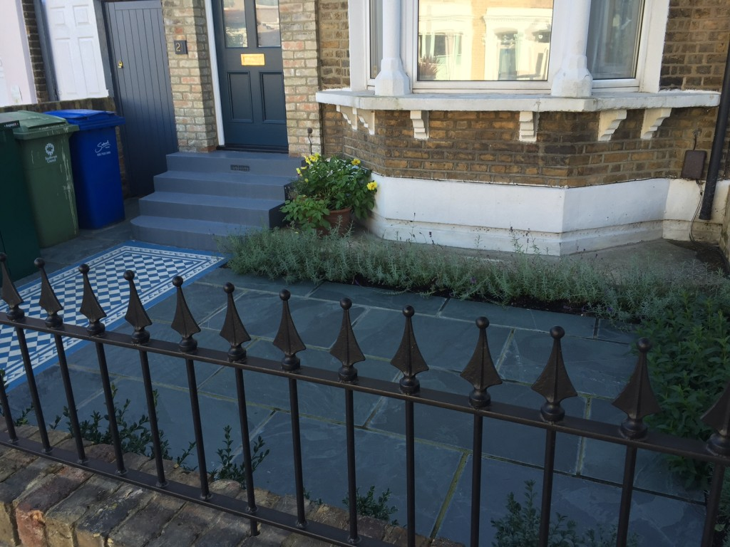 front garden project rail wall brick steps victorian mosaic tile path planting