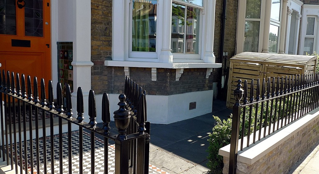 Clapham stone white garden wall entrance colour metal gate