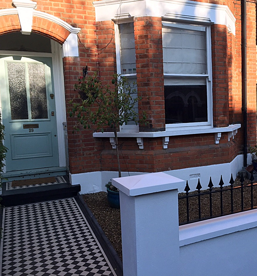 Front garden company metal rail multi colour London Chelsea York stone