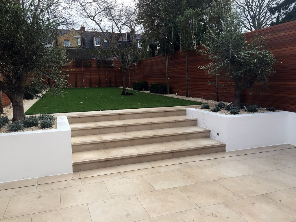 Fulham Chelsea travertine artificial grass path tile wall trellis London