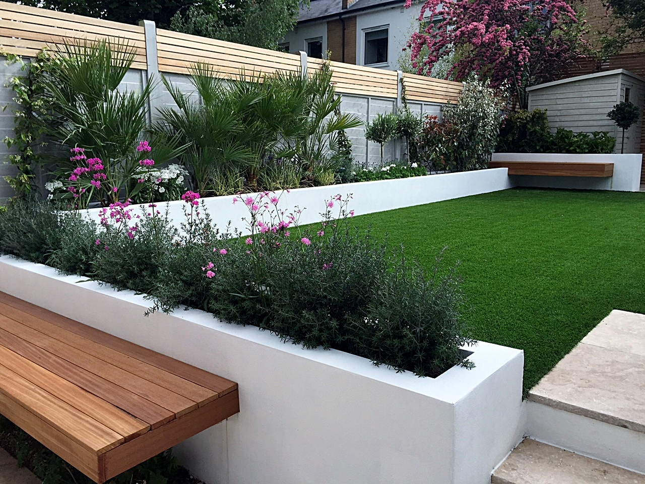 Modern Garden Design Fulham Chelsea Clapham Grass Travertine Paving Peckham