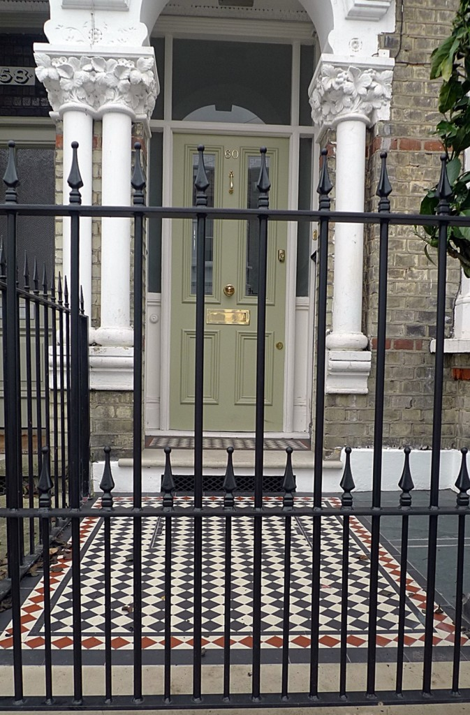 Ornamental stone Victorian mosaic multi colour metal rail metal gate York stone entrance stone render garden wall Clapham Balham Wandsworth  Dulwich London