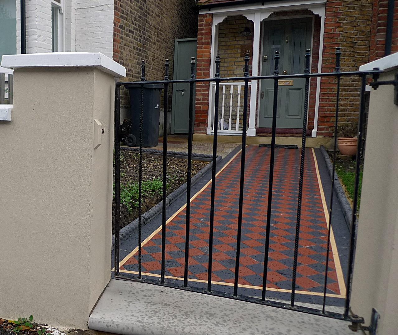 Ornamental Stone Victorian Mosaic Multi Colour Mosaic Charcoal Rope Edge Tiles Render Garden