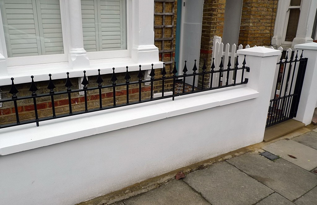 Ornamental stone Victorian mosaic multi colour mosaic metal gate metal rail brick garden wall render garden wall York stone entrance stone Earsfield Wimbledon Wandsworth Putney London