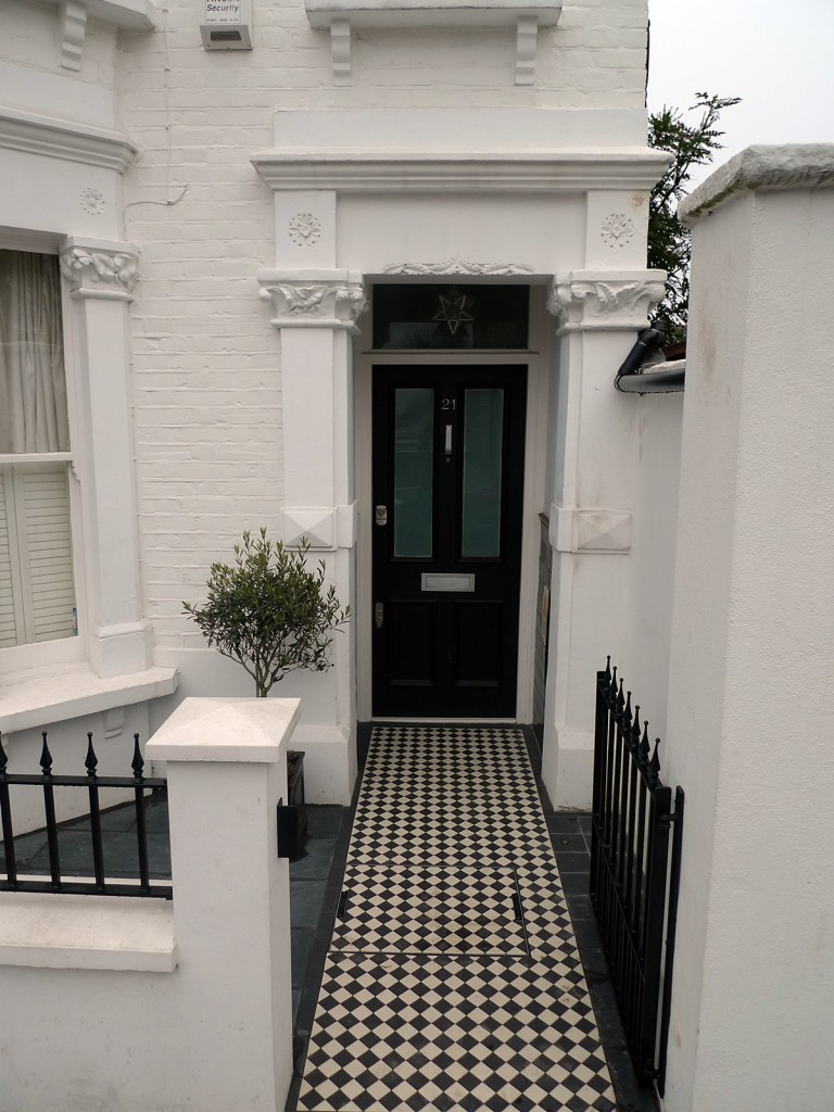 Ornamental stone front garden design Balham Clapham Battersea London