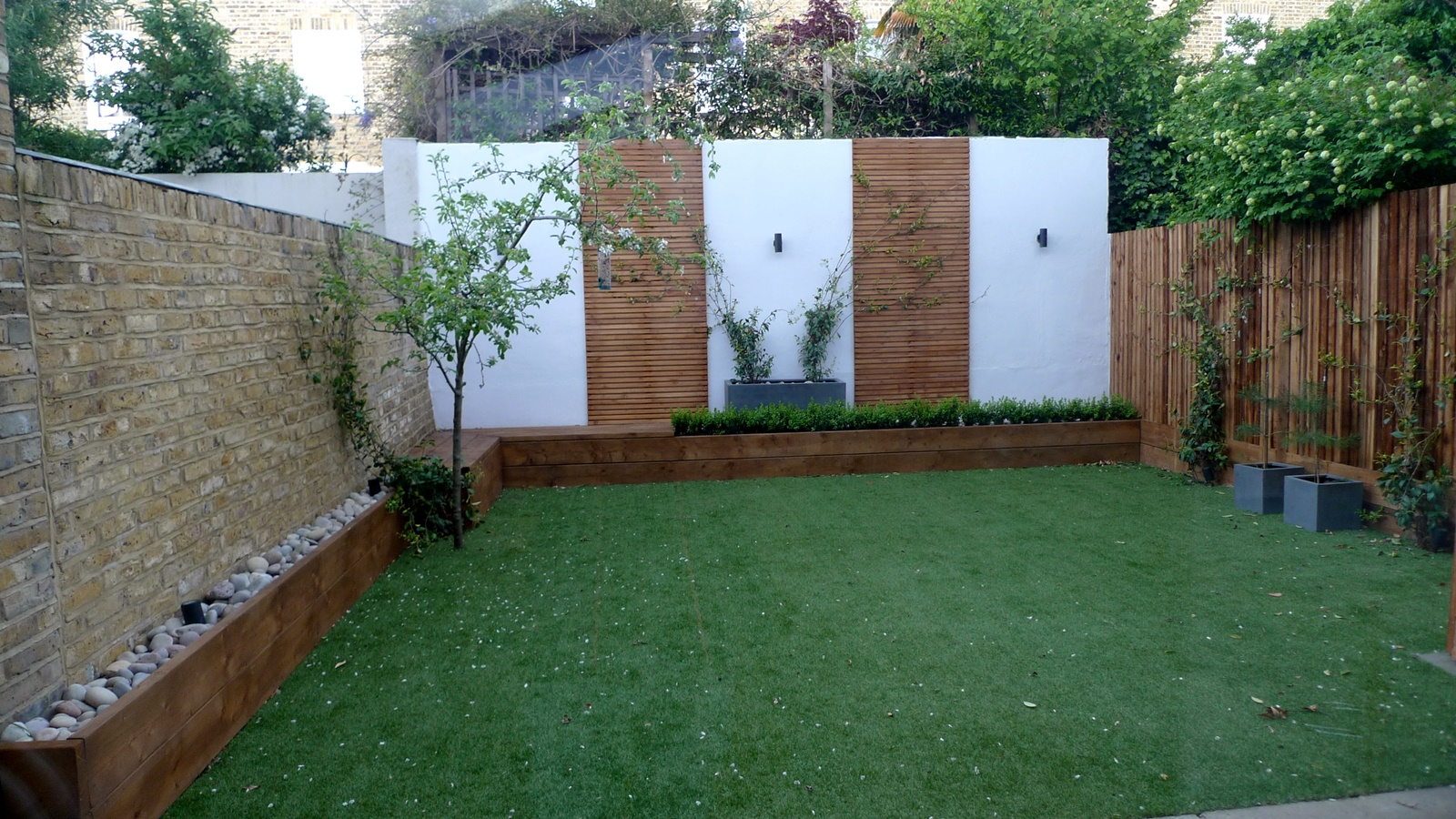 Fake grass brick garden wall front garden company London