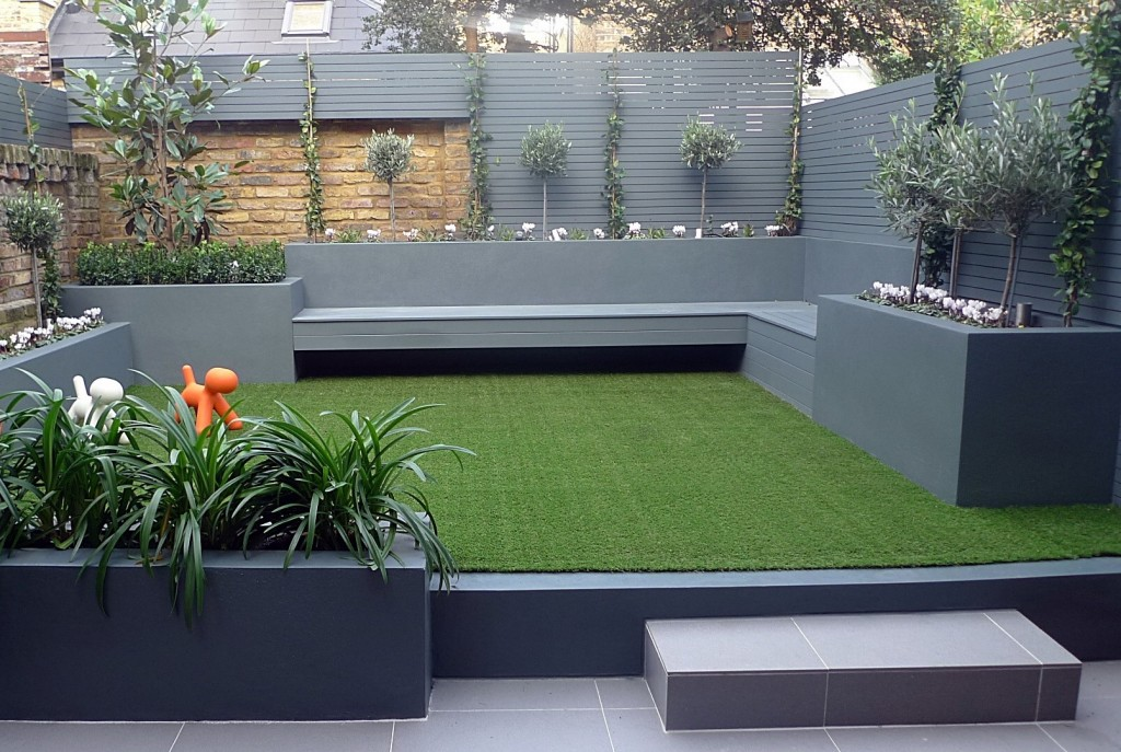 Grey Colour Scheme Agapanthus Olives Artificial Grass Porcelain Grey Tiles Floating Bench Lighting Balham Clapham Wandsworth Vauxhall London
