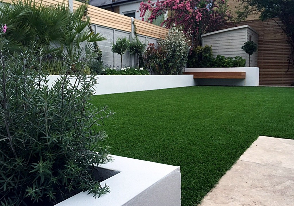 Render garden wall artificial grass planting Peckham Clapham travertine paving garden design