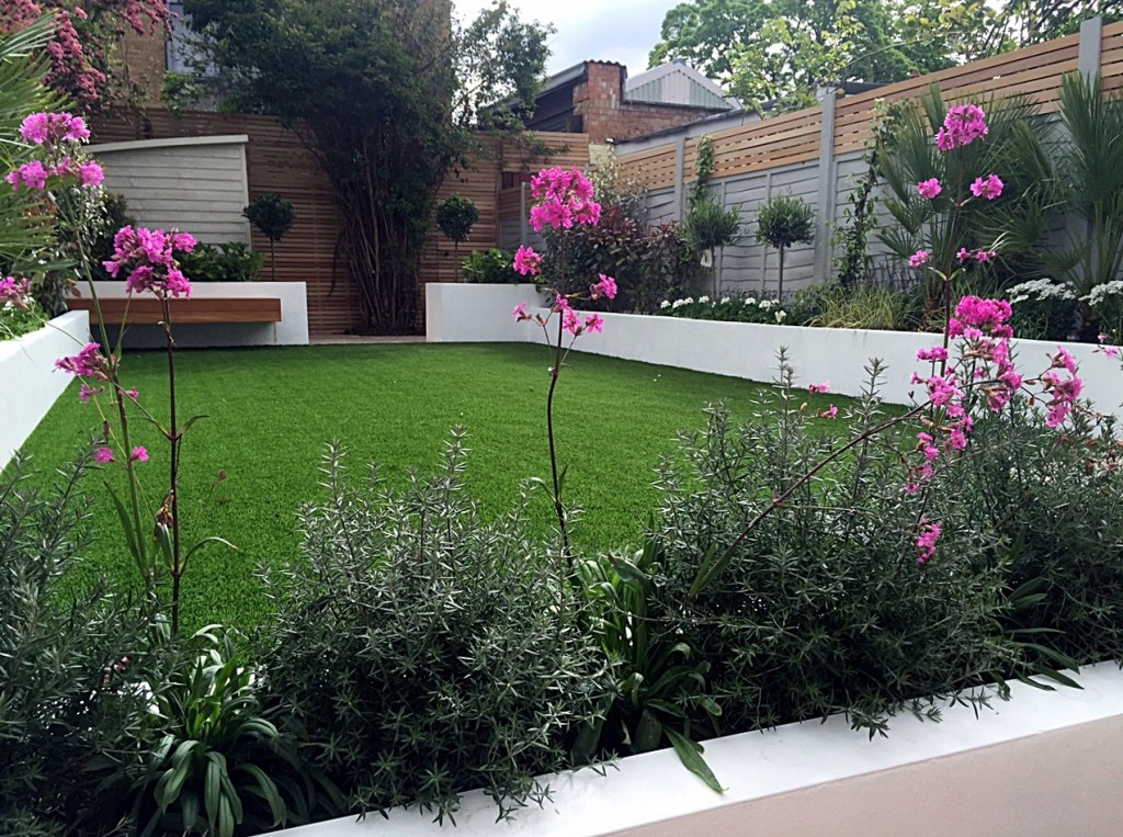 Travertine paving garden company planting grass London Putney Battersea