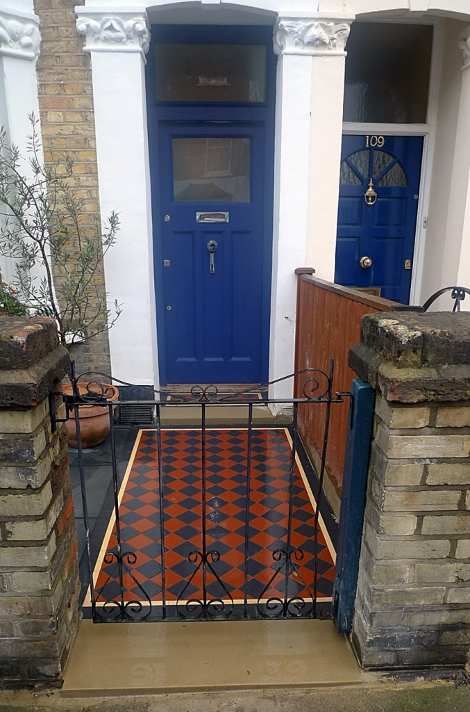 Wood front garden design Victorian mosaic London Forest Hill Dulwich
