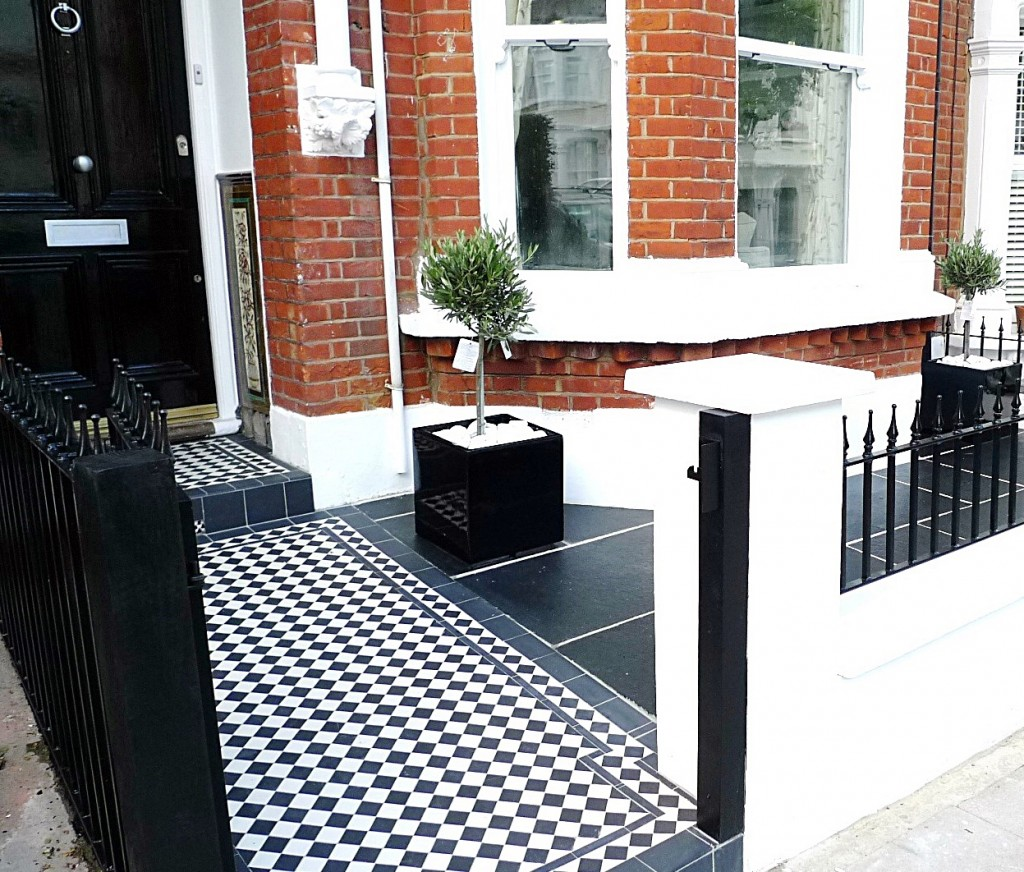 Yellow stock brick garden wall low maintenance cap Victorian mosaic London Chelsea Fulham