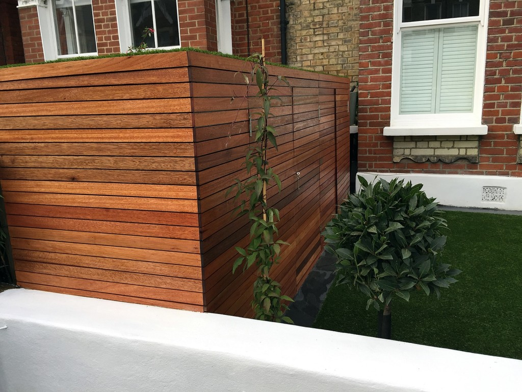 bin store bike store hardwood storage unit made to measure bespoke design front garden topairy artificial grass london