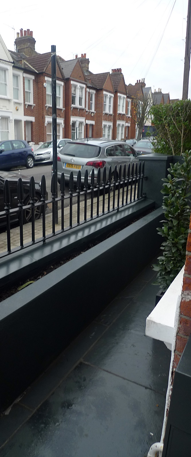 Black garden wall path tile rail metal gate bespoke imperial